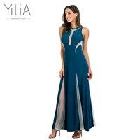Yilia 7 צבעים סקסי ארוך המפלגה מקסי שמלות מסיבת חתונה אלגנטית נשים קיץ 2017 אופנתי Mesh טלאים ללא שרוולים אדומים שחור