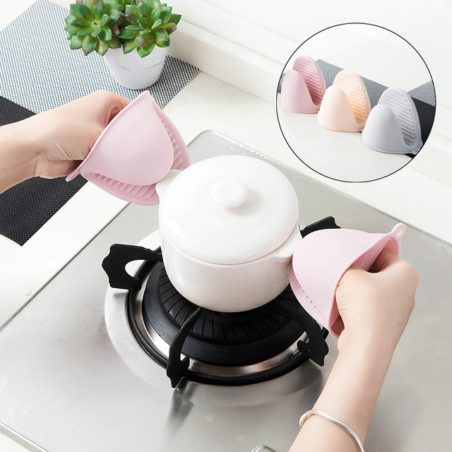 Silicone Oven Mittens Glove Heat-insulating Anti-Hot Clamp Hand Clip Finger Protector Pinch Grips Bowl Lifter Kitchen Gadgets C2 4