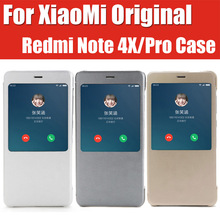 Оригинальный Xiaomi Redmi Note 4x Pro Кожаный чехол для Xiaomi Redmi Note 4x чехол смарт проснуться официальный с трек