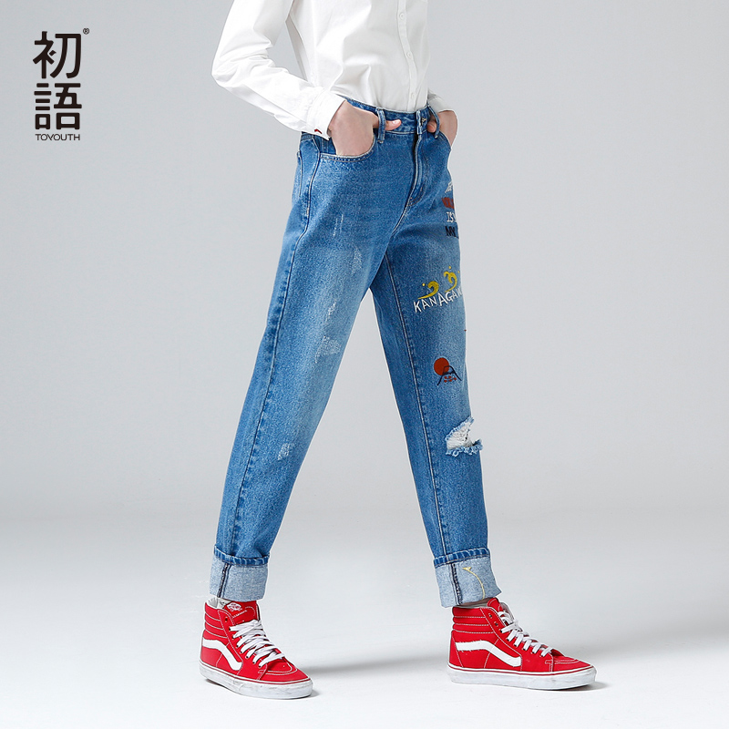 Toyouth Jeans 2017 Spring New Women Pants Casual Character Embroidery Full Length Wide Leg Jeans Pants 2017 spring new women sweet floral embroidery pastoralism denim jeans pockets ankle length pants ladies casual trouse top118