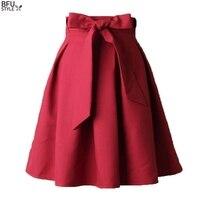 Elegante Vrouwen Rok Hoge Taille Geplooide Lengte Rok Vintage Een Lijn Grote Boog Rode Zwarte Kant Rits Skater Rokken Rood