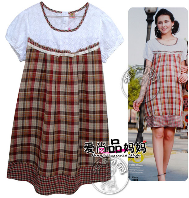 dc7c9e929cb Super quality Gingham Embroidery Hollowed out pattern Summer short sleeved maternity  dresses pregnant women dress