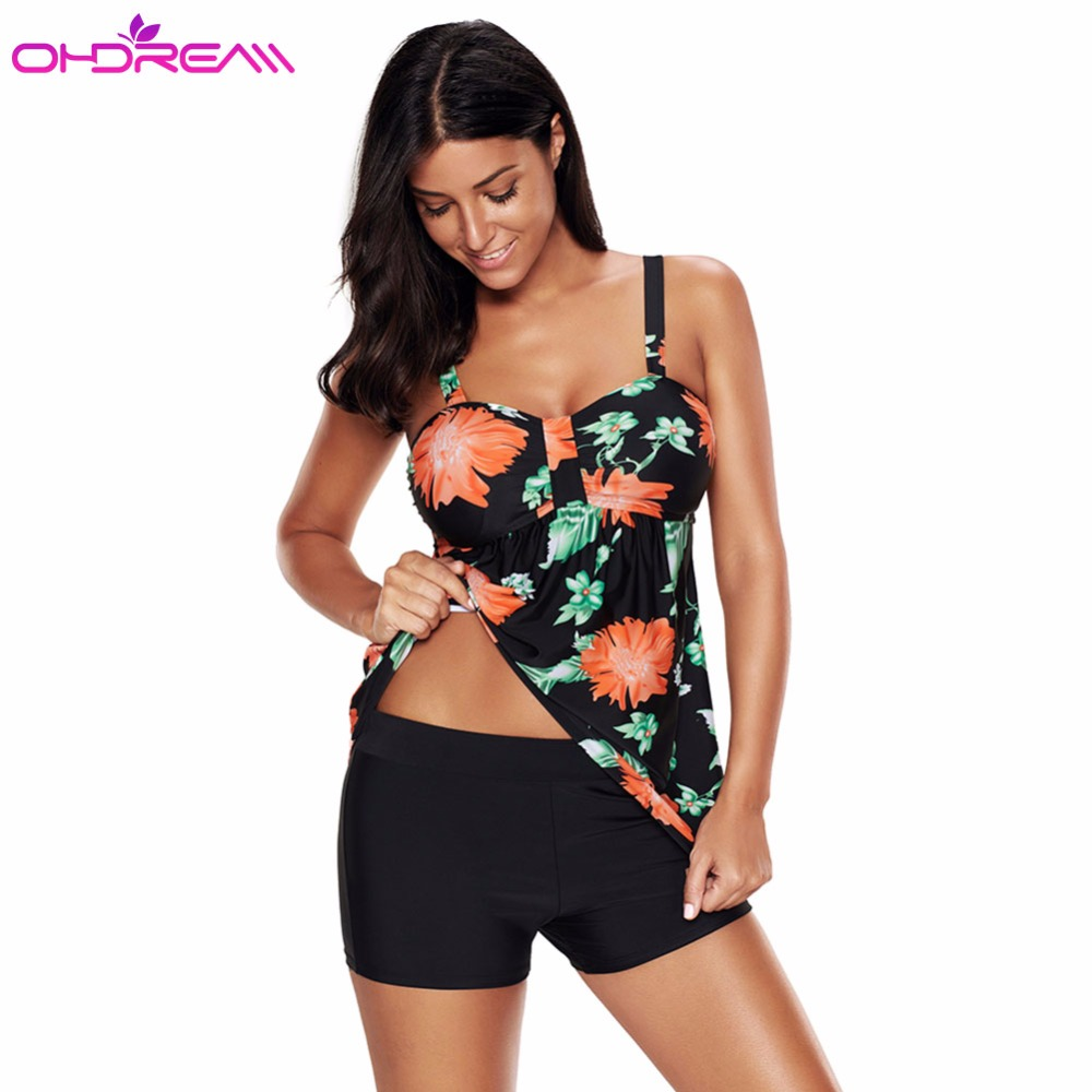 OHDREAM Women Swim Skirt High Waist Shorts Plus Size Tankini Set Push Up Two Piece Swimsuit Straps Flowery Braizilian Bikini -E elegant women s high waist button embellishment midi skirt