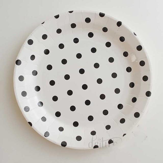 9inch black polka dots Paper Plates kids birthday Halloween party decoration supplies dinner plates tableware Cake & 9inch black polka dots Paper Plates kids birthday Halloween party ...