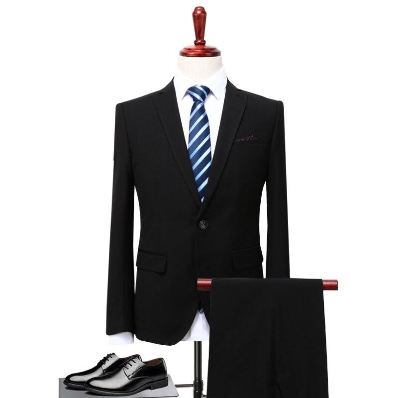 2019 Autumn  Formal Men Suit Two Pieces Set Black And Gray With Blue Men Blazer Coat Asia Size S - 5XL