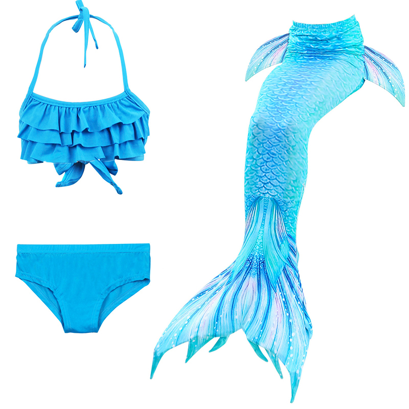Anime 3 PCS Set Kid Mermaid Tails with Monofin Girls Costumes Mermaid Tails for Swimming Mermaid Party Halloween Costumes