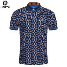 Лето 2017 г. модные Для мужчин S Поло рубашка короткий рукав геометрический узор тонкая рубашка для Для мужчин Футболки-поло Camisa Поло masculina большой Размеры