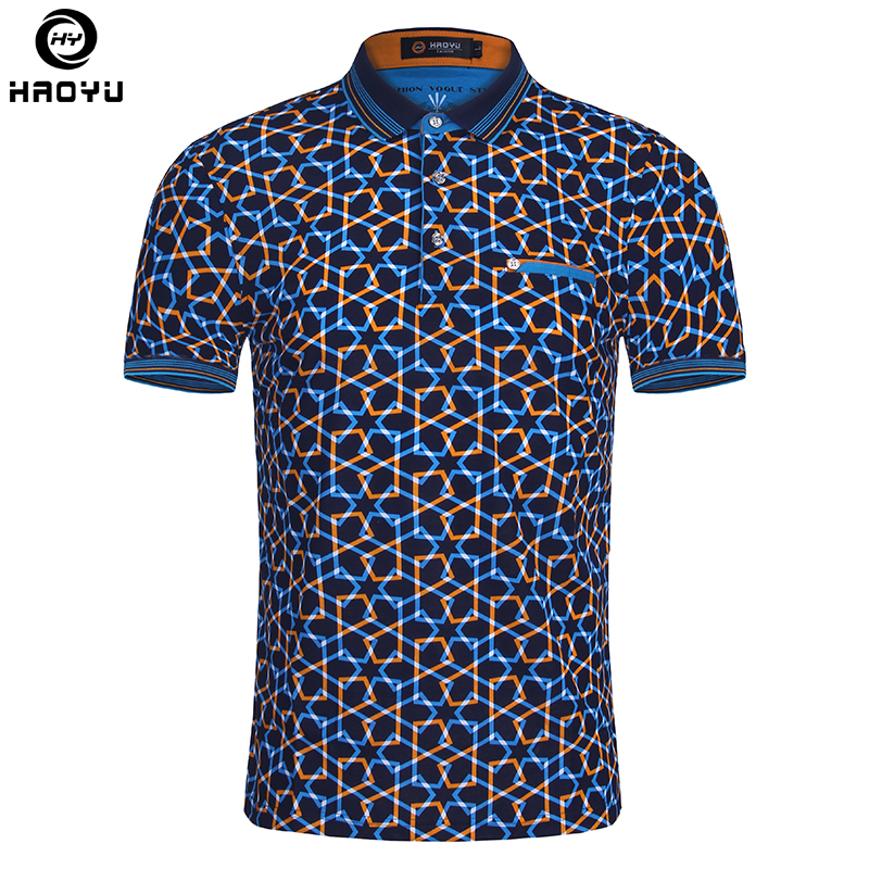 2018 été mode hommes Polo chemise à manches courtes motif géométrique Slim chemise pour hommes polos Camisa Polo Masculina grande taille