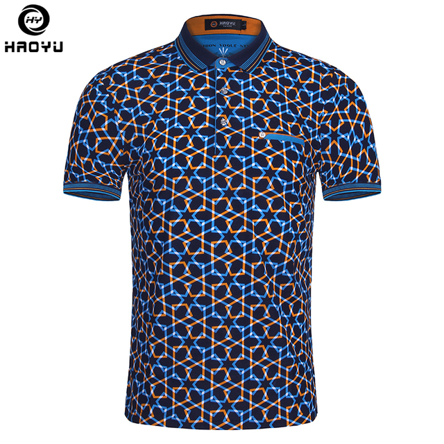 317560f9785c 2018 Summer Fashion Mens Polo Shirt Short Sleeve Geometric Pattern Slim  Shirt For Men Polo Shirts Camisa Polo Masculina Big Size