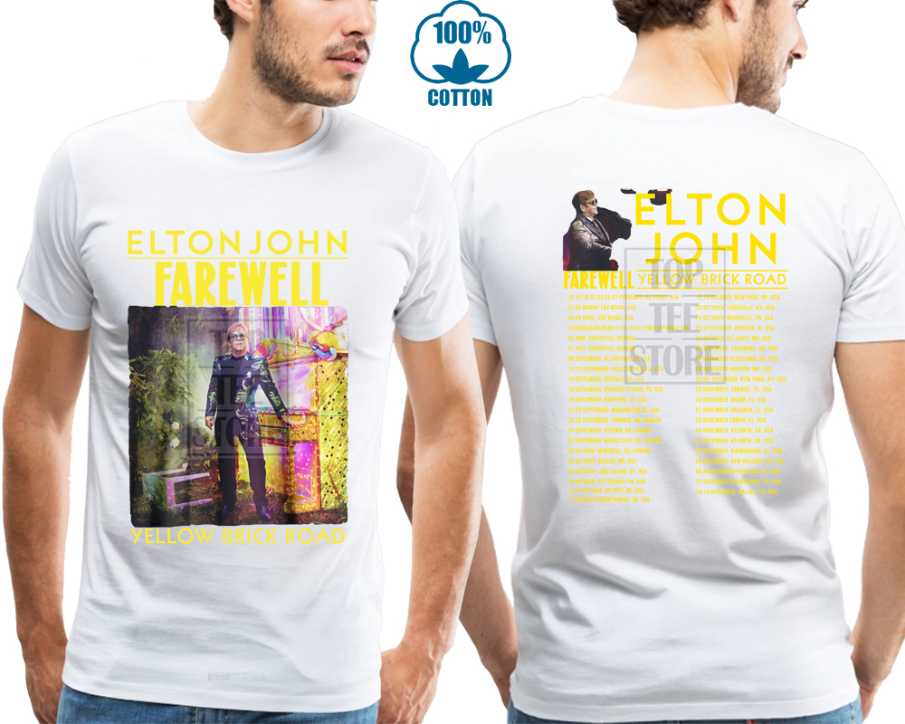 US $8 79 12% OFF|Elton John Yellow Brick Road Farewell Tour 2018 T Shirt  Black S 4Xl-in T-Shirts from Men's Clothing on Aliexpress com | Alibaba  Group