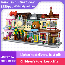 1750pcs 4 in 1 Children Building Blocks Toy Bear Makeup Shop Mini City Street View Shop Series Diy Compatible LG Duplo Toy Gift все цены