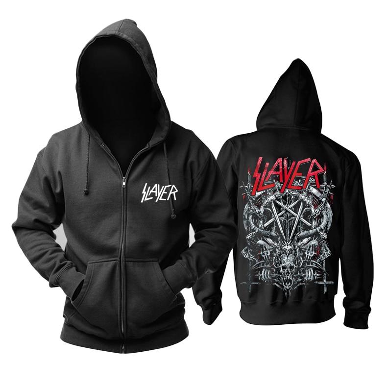 26 Designs Slayer Cotton Soft Rock Hoodies Shell Jacket Punk Heavy Metal Zipper Sweatshirt Fleece Sudadera Skull Outerwear