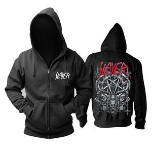 Image 1 - Sudaderas con capucha de algodón Slayer de 30 diseños, chaqueta de concha punk de metal pesado con cremallera, sudadera de forro polar, prendas de exterior con calaveras