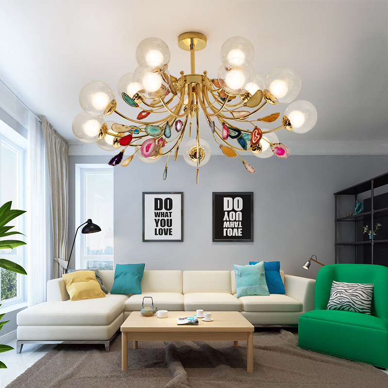 Image 4 - G9 Agate Chandeliers Glass Ball Lampshade Hanging Lamps Lustre Lighting Living Room Pendant Chandelier Lights-in Chandeliers from Lights & Lighting