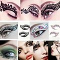 Y28 2016 New 1pair Charming Eye Art Tattoos Temporary Stickers Eye Rocks Liner DIY Decorations Makeup Tools Eyelid Lace