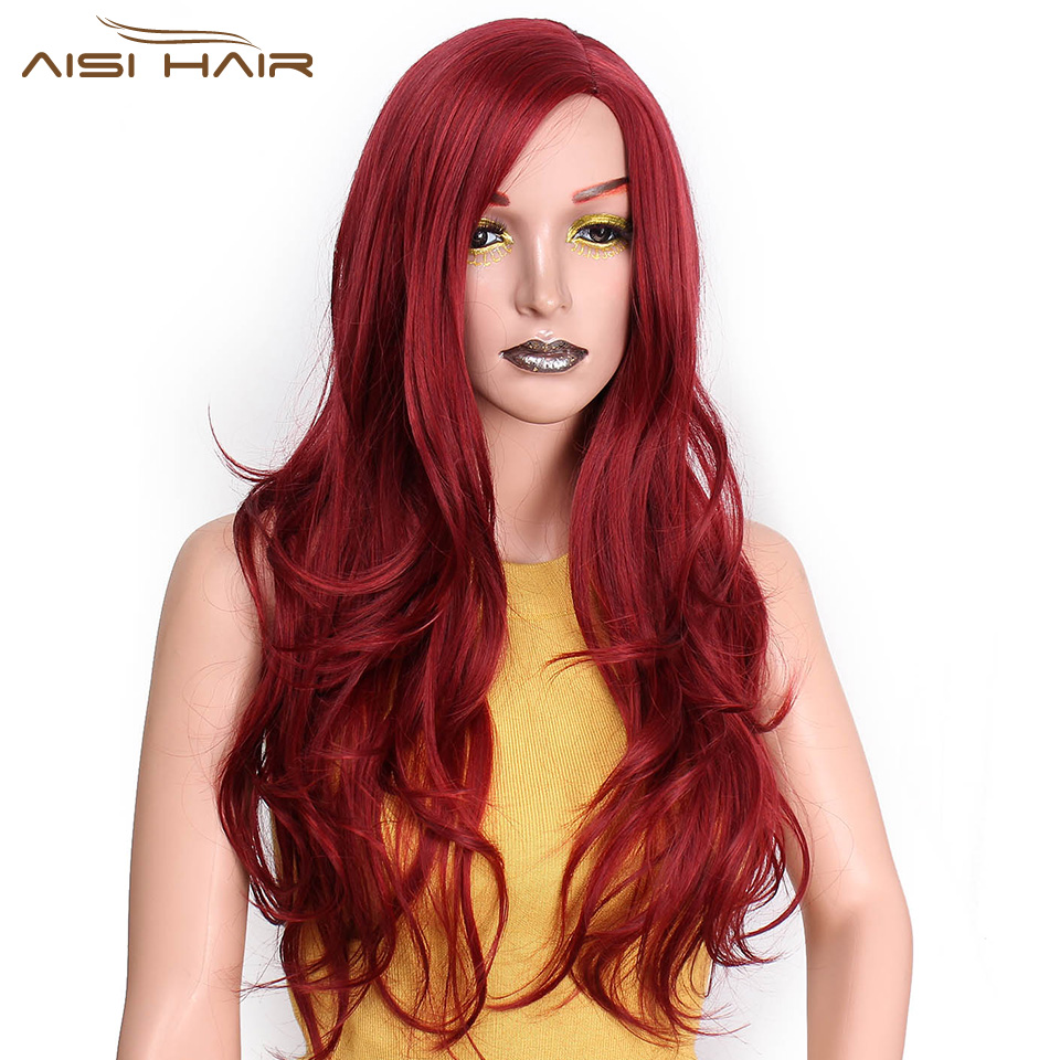 I's a wig Long Red Wavy Wigs For Black Women Natural Black Wave Synthetic Wigs 22 inch  Heat Resistant Fiber Hair can be Cospaly