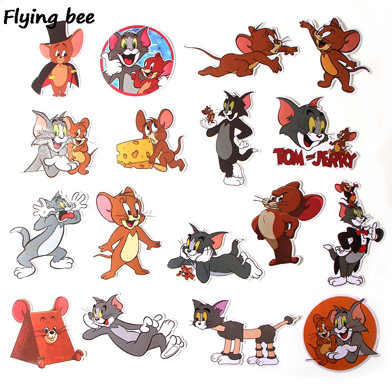 Image 2 - Flyingbee 17 Pcs Tom and Jerry Cartoon Cute PVC Stickers Scrapbooking for Car Luggage Laptop Decal Bedroom Diy Decoration X0280-in Stickers from Consumer Electronics