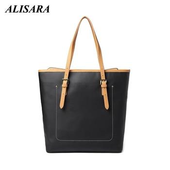Alisara Fashion Women Leather Tote Bag Large Capacity Patchwork Shoulder Bag Casual Female Messenger Bags Lady Bucket Bag