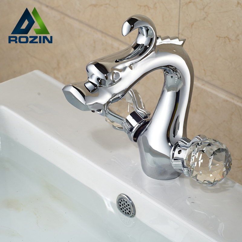 цена на Dual Handle One Hole Hot Cold Water Basin Sink Faucet Deck Mount Brass Chrome Mixer Taps Dragon Shape