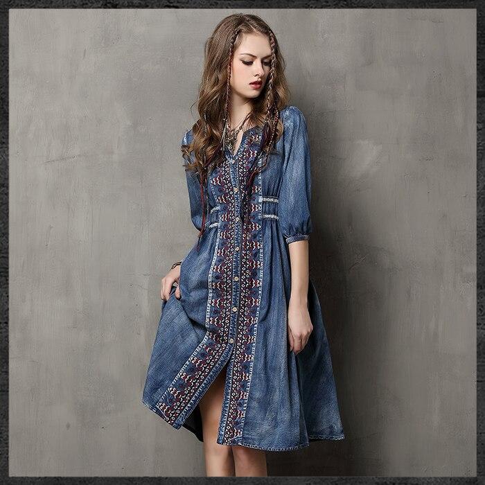 Nouvelle robe Vintage pour femmes à la mode élégante robe en denim de taille haute avec broderie et manches de longueur moyenne en col en V-in Robes from Mode Femme et Accessoires    1