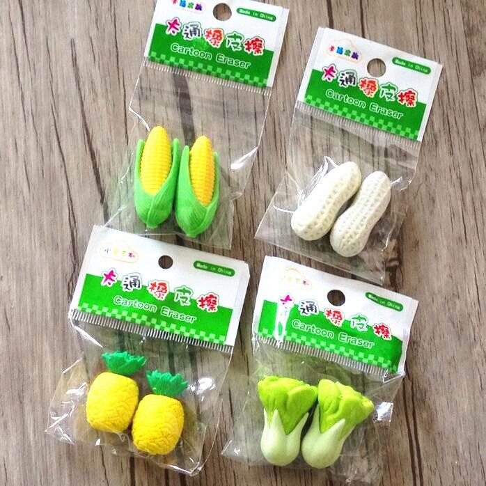 72pcs/lot Fresh Vegetable fruit design Nontoxic eraser Kawaii Students' gift prize Children Learning Toys office school supplies