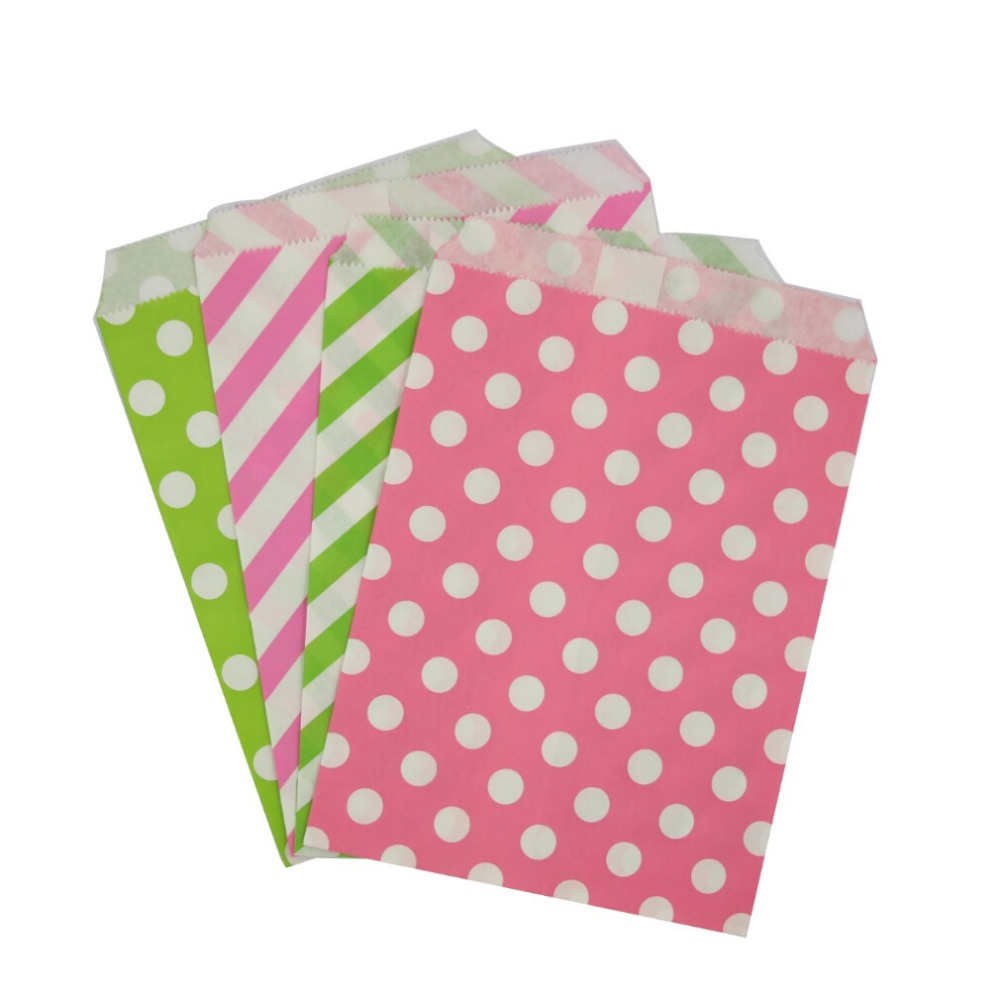 50Pcs Pink and Lime Green Paper Favor Bags Polka Dot / Strip Treat ...
