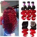 Ali Grace 1b/red Brazilian Ombre Hair With Closure 7A 3 Bundles Red Ombre Brazilian Hair Body Wave with Closure Human Hair Weave