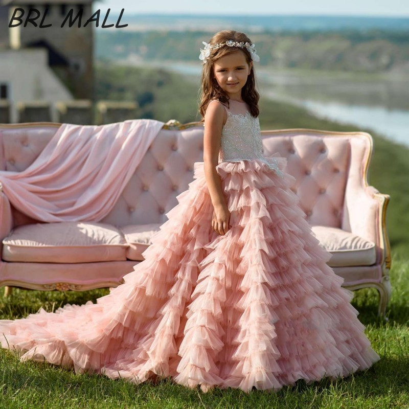 Gorgeous Pink   Flower     Girl     Dresses   for Wedding Layered Tulle Lace appliques Kids Ball Gown 2019 pageant   dresses   for   girls