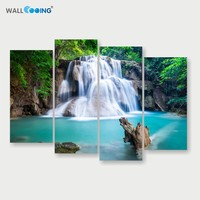 4 Panels Canvas Painting Waterfall Blue Landscape Modular Pictures Setting Spray Modern Home Decoration Wall Art