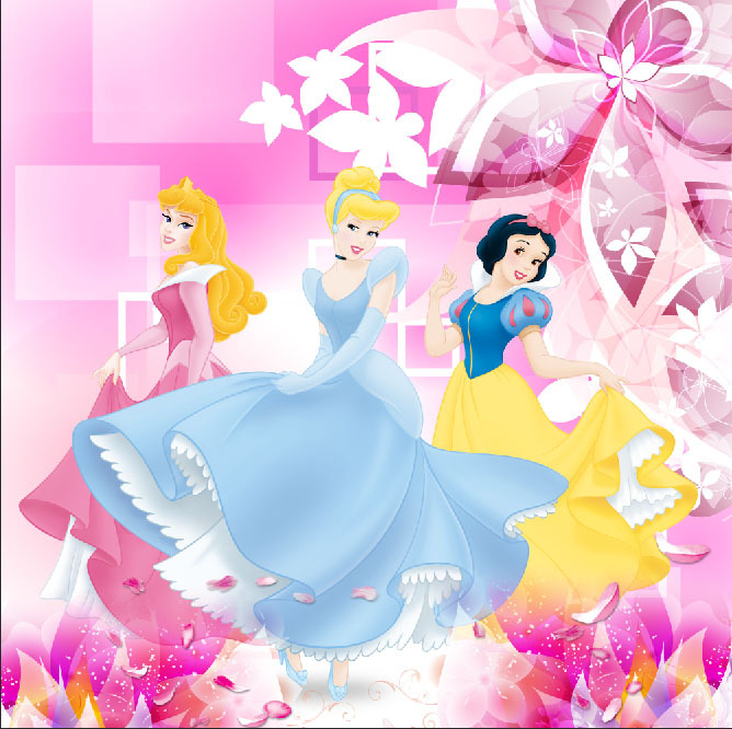 New China Girl Wallpaper 10x10ft Light Pink Flowers Pattern Aurora Snow White