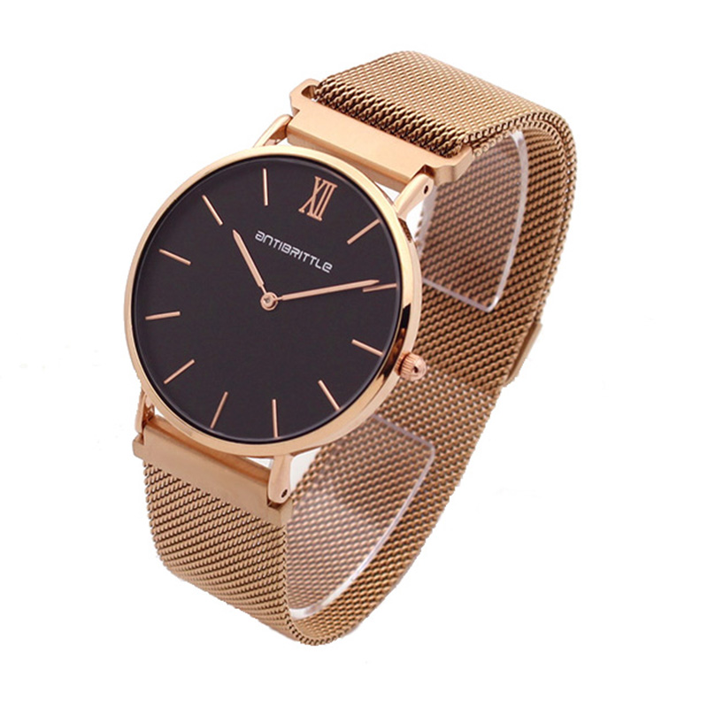 Japan Quartz Luxury Black Dial Watch Women Rose Gold Roman Mesh Ultra Thin Stainless Steel Magnet Band Waterproof Antibrittle ultra luxury 2 3 5 modes german motor watch winder white color wooden black pu leater inside automatic watch winder