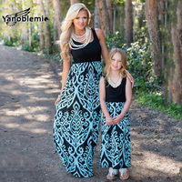 Mother Daughter Matching Dress Summer Sleeveless Fashion Pteris Print Vest Dress Mom Daughter Patchwork Family Matching