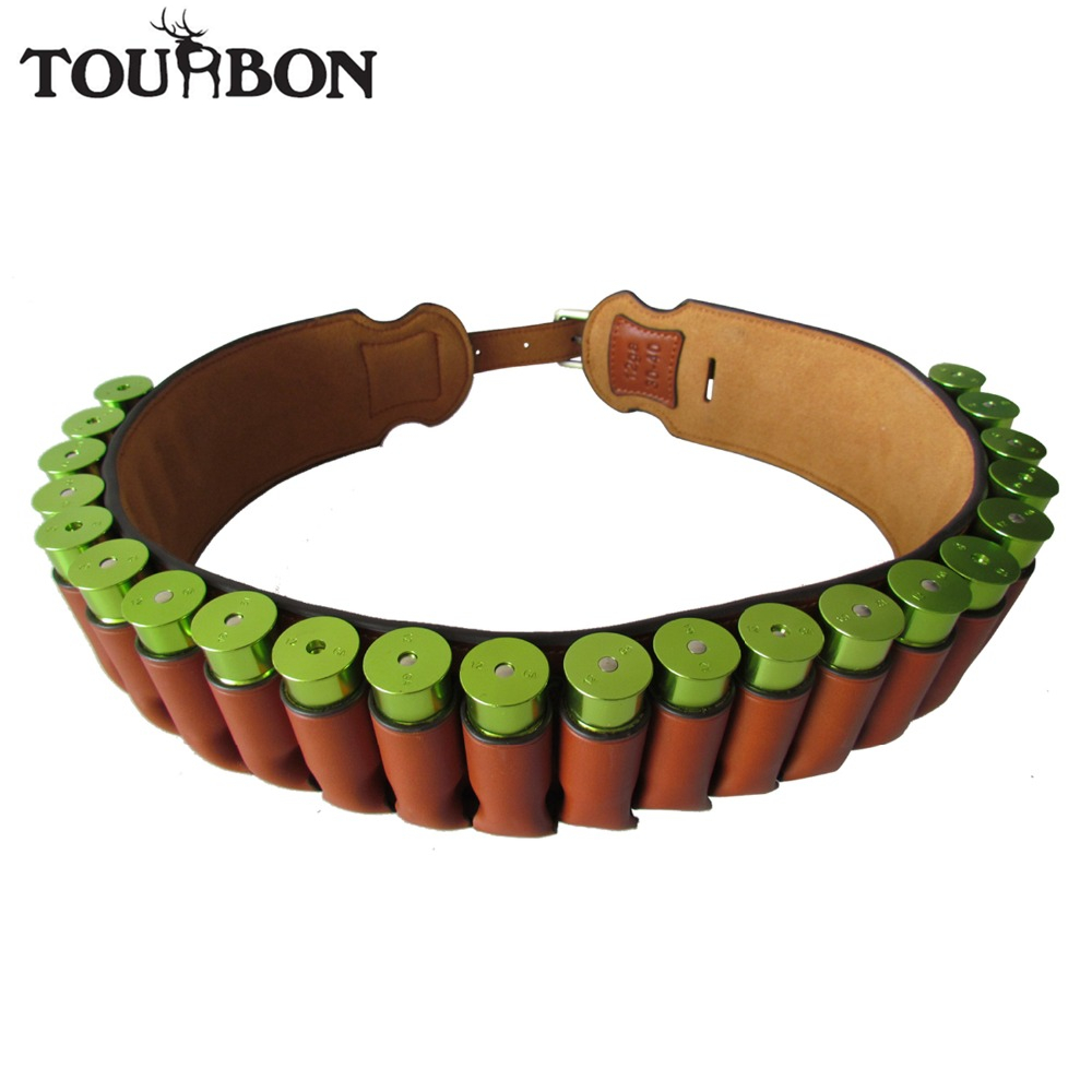 Tourbon Memburu Senapang 12 / 16Gauge Ammo Belt Genuine Leather Shotshell Cartridge Belt Brown Bandolier Gun Accessories 89-106CM