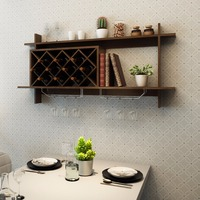 Goplus Wall Mount Wine Rack Organizer With Glass Holder & Storage Shelf Home Decor New HW57400BK