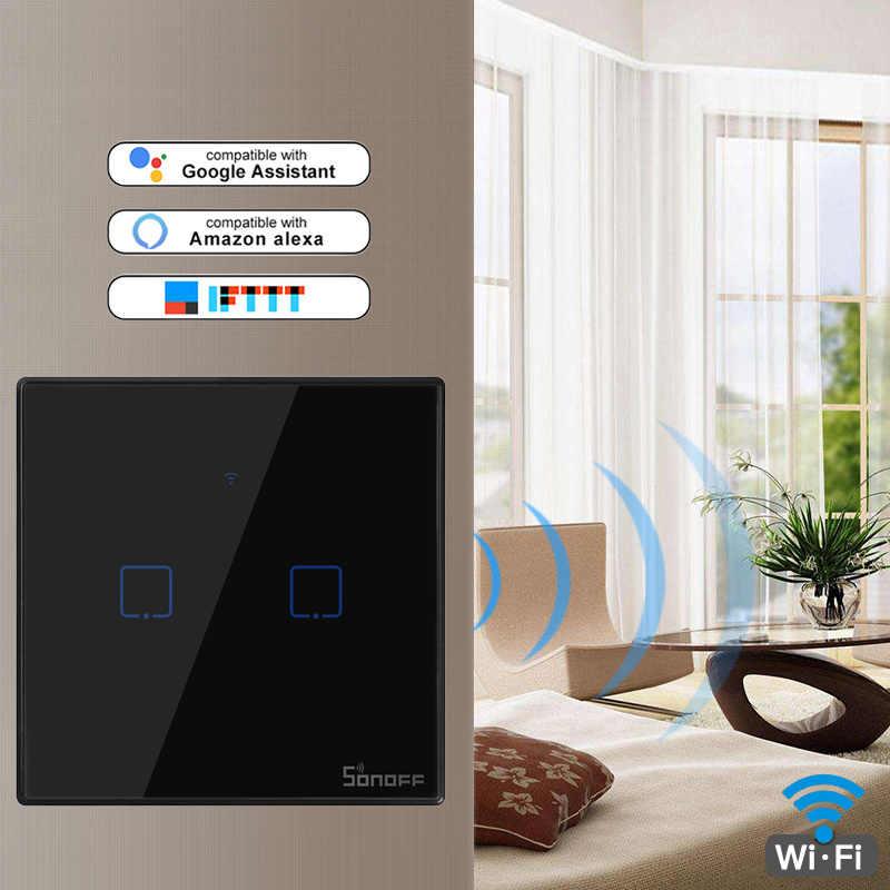 Sonoff nowy T3US T3EU wielkiej brytanii 120 rozmiar 1/2/3 gang TX 433Mhz RF Remoted kontrolowany Wifi przełącznik z granicy współpracuje z Alexa Google domu
