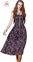 Chest 84 92cm 2017 Purple Long Summer Dress Vintage Bohemian Cotton Maxi Flower Print Backless Sexy