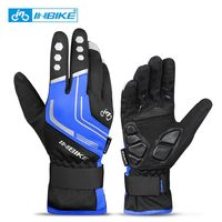 969 Blue-INBIKE Touch Screen WinterWindproof Warm Full Finger Cycling Gloves