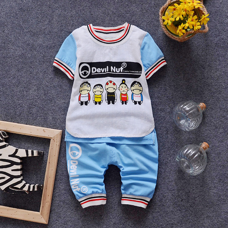 (2pcs/set)Baby short set boy Clothing Set Brand Baby Clothes 100% Cotton letter printed cartoon Tee Underwear set