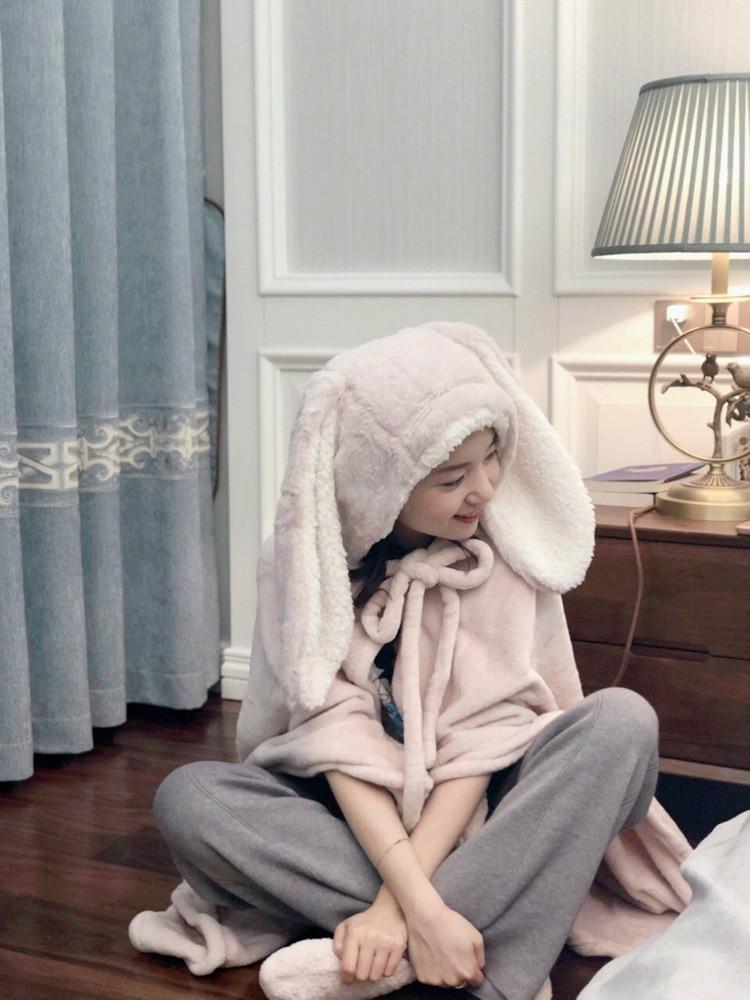Cute Pink Comfy Blanket Sweatshirt Winter Warm Adults and Children Rabbit Ear Hooded Fleece Blanket Sleepwear Huge Bed Blankets 68