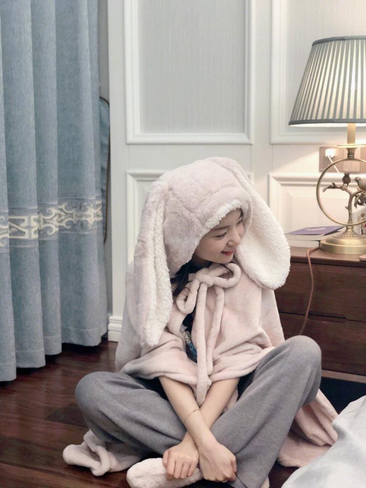 Cute Pink Comfy Blanket Sweatshirt Winter Warm Adults and Children Rabbit Ear Hooded Fleece Blanket Sleepwear Huge Bed Blankets 69