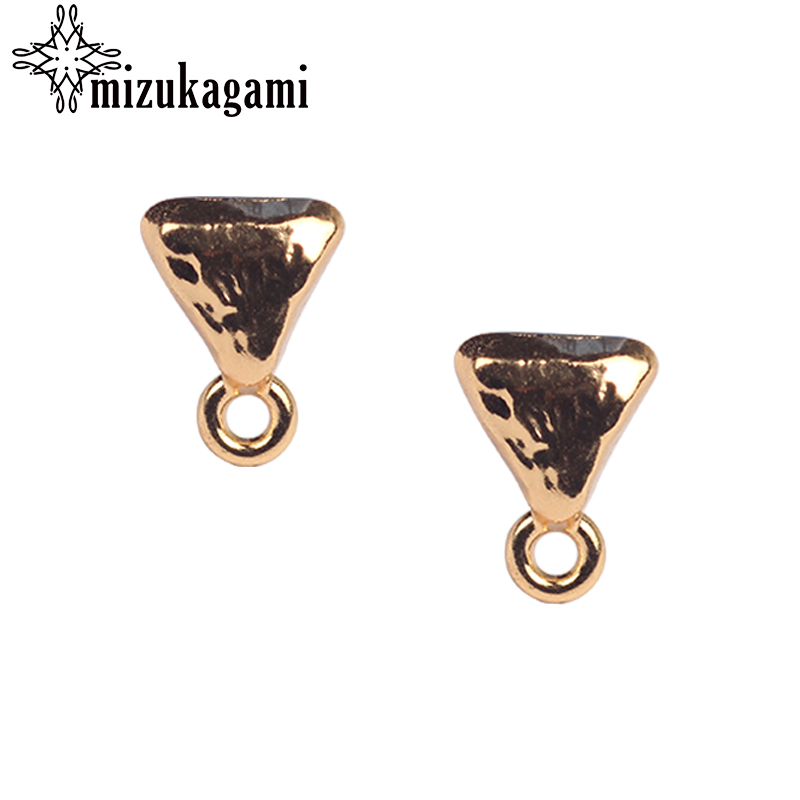 8*11mm 10pcs/lot Zinc Alloy Stud Earrings Golden Triangle Shape Connector For DIY Earrings Jewelry Making Finding Accessories