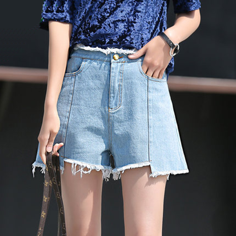 2017 Summer Women Casual Hot Denim Jeans Shorts Blue  New Fashion Vintage Slim Shirt Skinny High Waist Shorts Plus Size aliexpress 2016 summer new european and american youth popular hot sale men slim casual denim shorts cheap wholesale