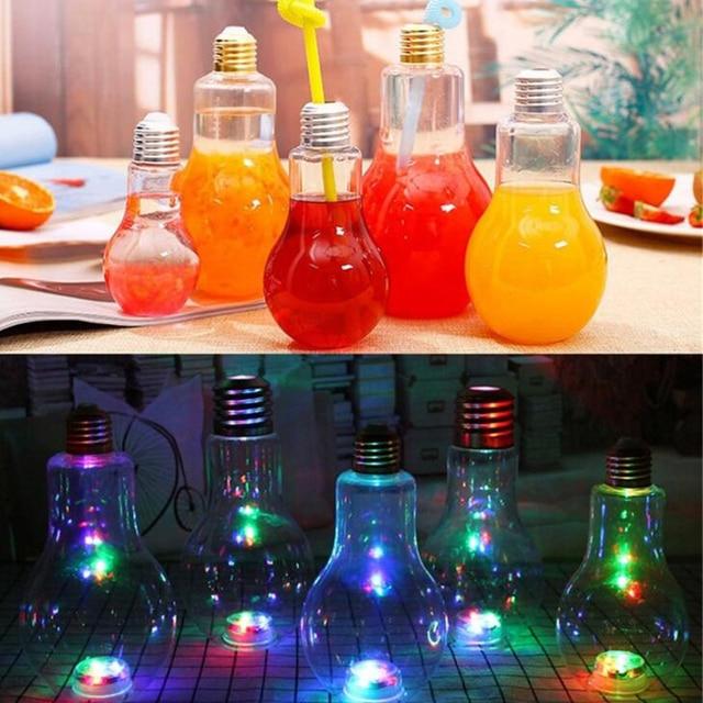 1 Pc Sippy Cups Creative Bottles Milk Tea Shop Bulb Transparent Plastic Fruit Juice Bottle Lighting Lamps Cup Decoration 1