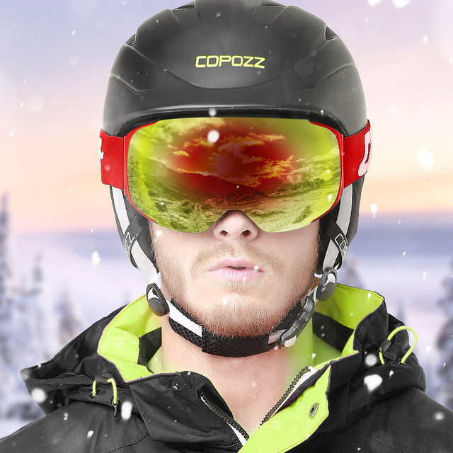COPOZZ Magnetic Ski Goggles with Quick-change Lens and Case Set 100% UV400 Protection Anti-fog Snowboard Goggles for Men & Women 1