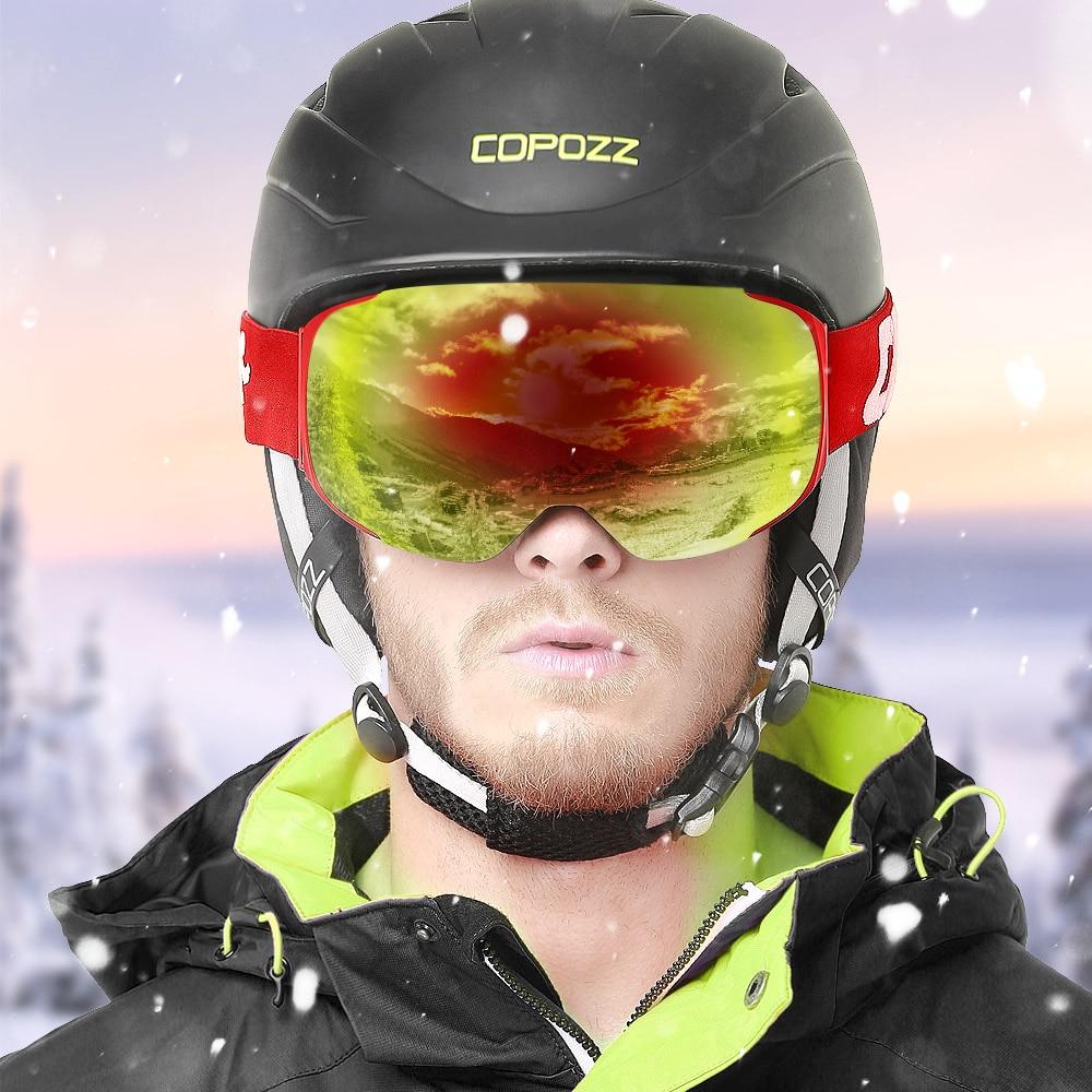 Lunettes de Ski magnétiques COPOZZ avec objectif et étui à changement rapide 100% UV400 Protection Anti-buée lunettes de Snowboard pour hommes et femmes - 2