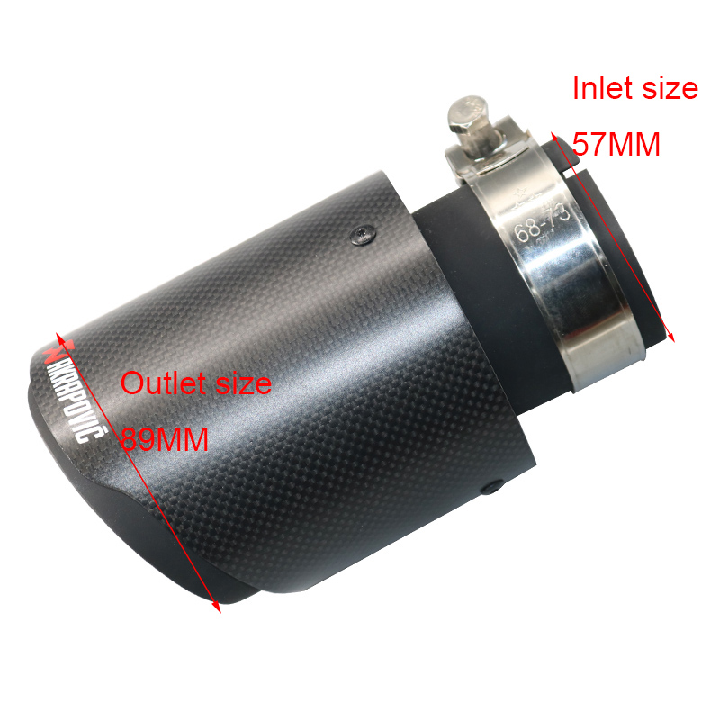Inlet <font><b>57mm</b></font> OD 89mm Matte Akrapovic <font><b>exhaust</b></font> car carbon <font><b>Exhaust</b></font> <font><b>Tip</b></font> car-styling <font><b>exhaust</b></font> pipe carbon fiber <font><b>exhaust</b></font> muffler <font><b>tip</b></font> image