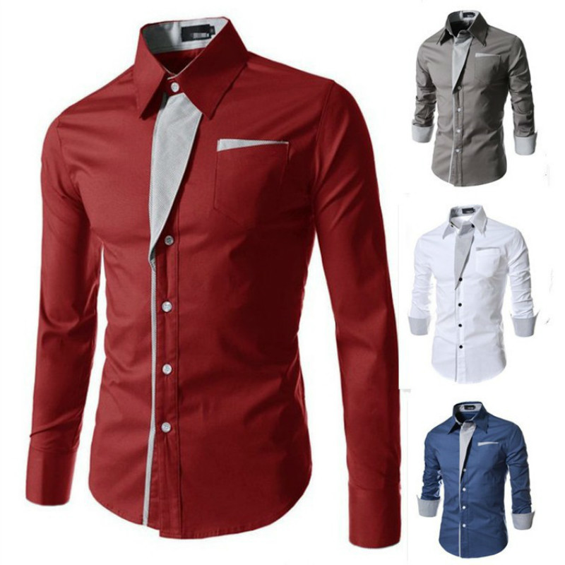 Fashion Mens Casual homme men hombre shirt camisa Slim Fit Long Sleeve Casual Dress Shirts Autumn WInter Outwear Plus Size