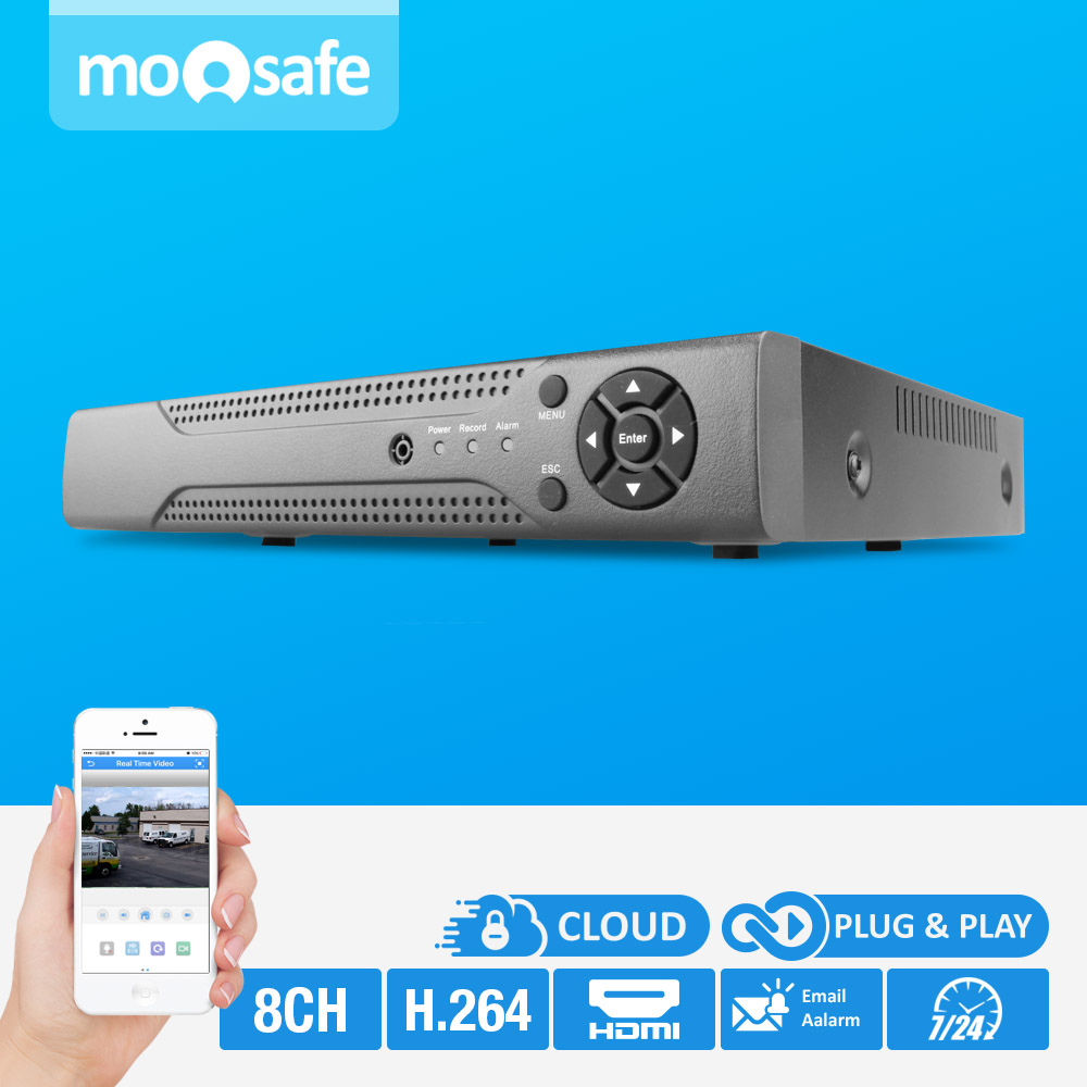 Moosafe 8CH NVR  1080P SATA PORT SUPPORT Motion Detection Recording Onvif H.264 HDMI P2P Digital Network Video Recorder 16ch poe nvr 1080p 1 5u onvif poe network 16poe port recording hdmi vga p2p pc