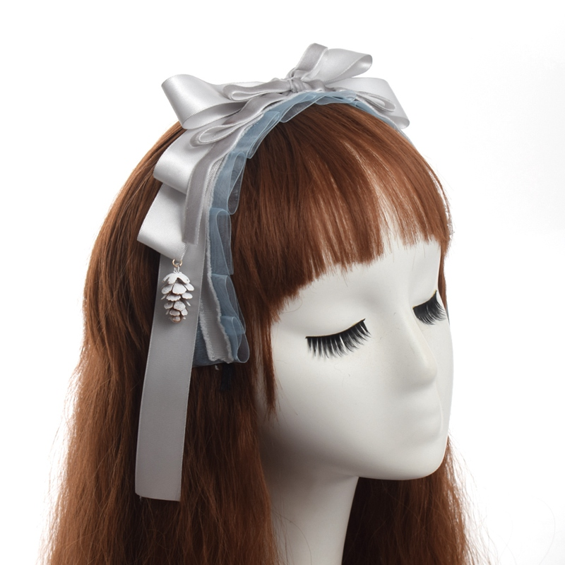 Women Lolita Ribbon Headband Cute Bow Hair Clip