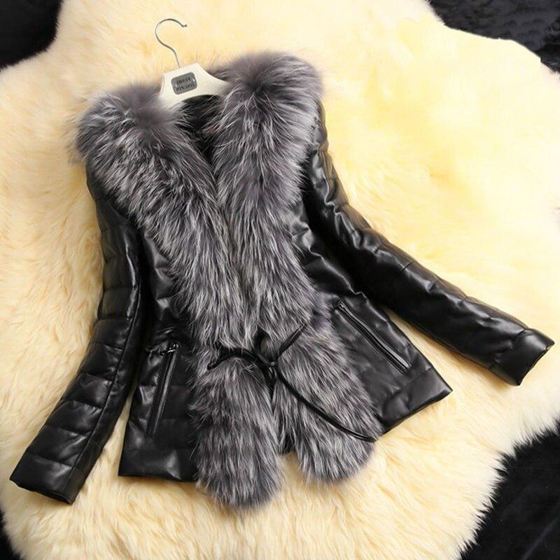 2018 Herbst Winter Warm Langen Hülse Faux Pelz Mantel Pu Leder Pelz Jacke Unterwäsche Plus Größe 5x Schwarz Manteau Femme Hiver
